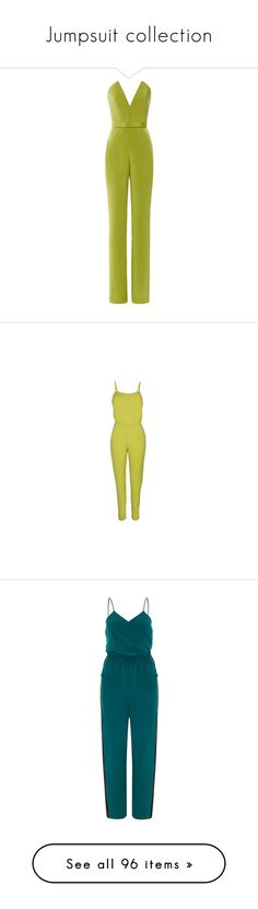 """""""Jumpsuit collection"""" by kiki-bi ❤ liked on Polyvore featuring jumpsuits, jumpsuit, dresses, rompers, pants, green romper, playsuit jumpsuit, deep v neck jumpsuit, deep v neck romper and jumpsuits & rompers"""