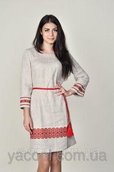 689c0360665e Классическое укринское платье из серого льна с орнаментом  продажа, цена в  Харькове. от