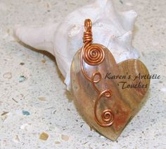 Red Brown Jasper Heart Gemstone Antique Copper by ArtisticTouches, $20.00