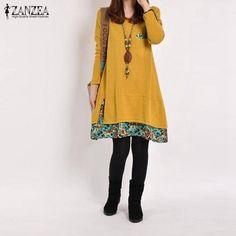 Plus Size 2017 Autumn ZANZEA Women Casual Vintage Dress Ladies Leisure Loose Floral Hem O Neck Long Sleeve Cotton Basic Dresses