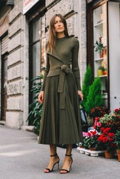 Sweater: tumblr green long sleeves pleated skirt midi skirt skirt green skirt sandals sandal heels