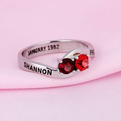 Personalized Engraved #Names #Birthstone #Jewelry 925 Sterling #Silver Cubic Zirconia Ring