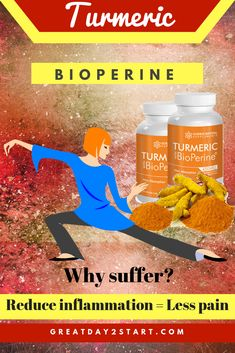How to get rid of inflammation, reduce joint pain and burn fat? Turmeric with BioPerine which is more effective than Turmeric alone! Best Diet Plan For Weight Loss, Weight Loss Chart, Best Weight Loss Program, Fast Weight Loss Tips, Weight Loss Tea, Lose Weight In A Week, Healthy Weight Loss, How To Lose Weight Fast, Anti Inflammatory Smoothie