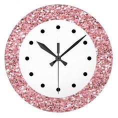 Het roze schittert bling muurklokken met zwart-wit en roze kleurenschema in dit girly de klokontwerp van het muurdecor voor uw keuken, badkamers, of om het even welke ruimte in uw huis u één of ander kleur en karakter wilt toevoegen. Groot voor dormruimten, tienersslaapkamer.