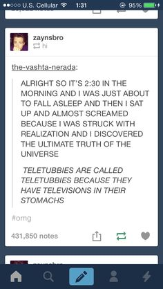 & telly is an English word for TV. & Tubbie being a slang word for fat.. Soooooo technically they are TV Fats. LOL