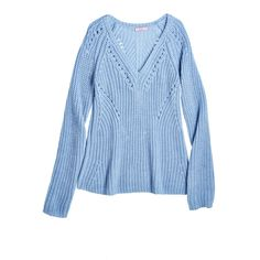 CALYPSO St. Barth Callani Ribbed Merino Wool Sweater ($189) ❤ liked on Polyvore featuring tops, sweaters, blue sweater, blue pullover sweater, pullover sweater, ribbed sweater and ribbed v neck sweater