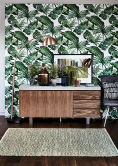35 Adorable Tropical Leaf Decor Stylish Home Design Ideas trending Interior Tropical, Tropical Home Decor, Tropical Furniture, Tropical Colors, Tropical Prints, Palm Print, Tropical Leaves, Tropical Kitchen, Bold Colors