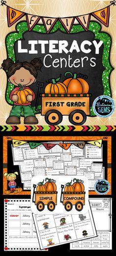 First Grade Literacy Centers - Fall Theme Literacy Activities, Literacy Centers, Kindergarten Themes, Teacher Resources, Teaching Ideas, School Resources, Classroom Resources, 3rd Grade Classroom, Primary Education