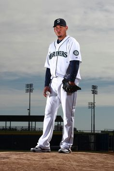 Seattle Mariners pitcher Felix Hernandez stands in for a portrait at Spring training camp in Peoria, Ariz.