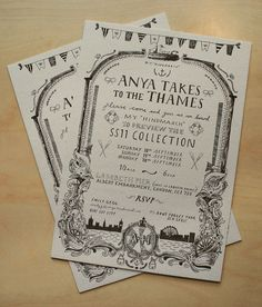 Hand drawn wedding invite: Liam Stevens for Anya Hindmarch #graphic design #illustration #typography