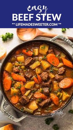 This Classic Homemade Beef Stew is easy to make in one pot & perfect for a chilly day. Tender beef, carrots, potatoes and celery make the best comforting dish on a cold & rainy day. Includes recipe, step-by-step photos & instructions for stove-top, Instan Whole30 Beef Recipes, Healthy Beef Recipes, Stew Meat Recipes, Beef Recipes For Dinner, Healthy Soup, Stewing Beef Recipes, Easy Stew Recipes, Keto Recipes, Paleo Food
