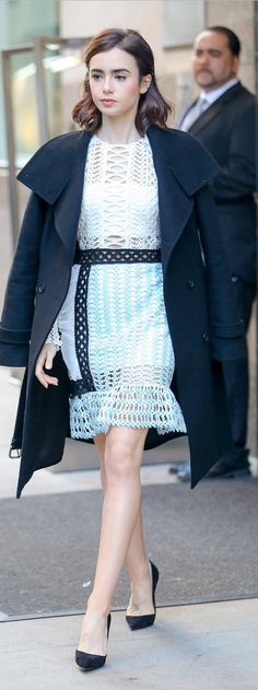 Who made Lily Collin's blue and lace dress?