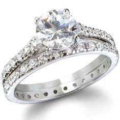 """Nothing says """"I love you"""" like an eternity ring. Our Endless Love sterling silver cubic zirconia engagement ring set showcases your lasting love. Fake Engagement Rings, Platinum Engagement Rings, Engagement Ring Settings, Platinum Wedding, Sterling Silver Wedding Rings, Diamond Wedding Rings, Wedding Band, Dream Wedding, Bridal Rings"""