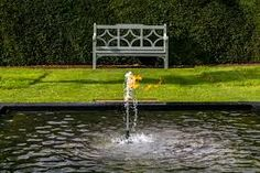 water fountain centre of formal pond uk - Google Search