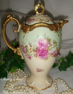 beautiful chocolate pots   Sale: Beautiful Antique Limoges Chocolate Pot with Pink Roses