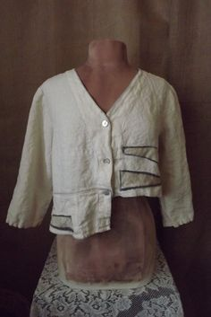 Lagenlook Upcycled Washed Linen Jacket Cropped with Applique Boho Style One Size Fits Many. $52.00, via Etsy.