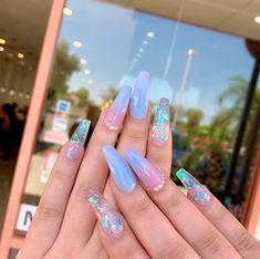 acrylic nail designs of glamorous ladies of the summer season 2 ~ telorecip. # quinceanera makeup blue acrylic nail designs of glamorous ladies of the summer season 2 ~ telorecip. Summer Acrylic Nails, Best Acrylic Nails, Summer Nails, Colourful Acrylic Nails, Acrylic Art, Nail Swag, Gel Nagel Design, Acylic Nails, Cute Acrylic Nail Designs
