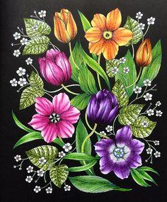 . ✤ WILD FLOWERS 野の花ぬり絵ブック マリア・トロッレ [うららかな春の花たち] ✤ #blomstermandala #WILDFLOWERS #野の花ぬり絵ブック #mariatrolle #マリアトロッレ #チューリップ #tulip #大人の塗り絵 #コロリアージュ #adultcoloring #coloriage#flower #flowerstagram