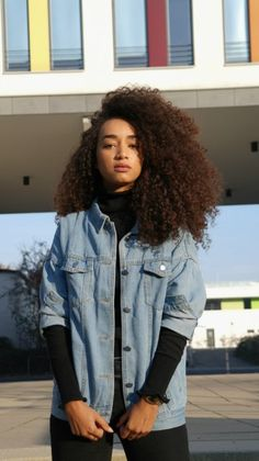 Outfit: Denim Jacket from Romwe Fashion, Curly Hair, Natural Hair