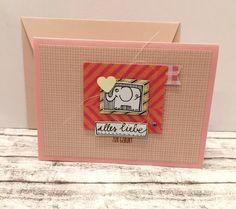 Glückwunschkarten - Babykarte ELEFANT & HERZ - ein Designerstück von POMMPLA bei DaWanda