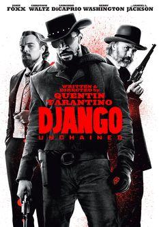 """La pelicula """"Django Unchained"""" es una mezcla de accion y comedia sobre un esclavo que se escapa con la ayuda de un dentista local, quien tambien es un cazador de recompensas. El director por este pelicula, Quentin Tarantino ya habia dirigido Kill Bill y Pulp Fiction y muchas mas."""