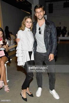 Olivia Palermo and Johannes Huebl attend the Jonathan Simkhai fashion show during New York Fashion Week The Shows at Gallery 1 Skylight Clarkson Sq...