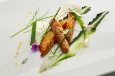 Mackerel, roasted garlic, scallion, lily flowers.