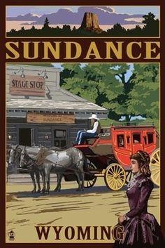 Sundance, Wyoming - Stagecoach Scene - Lantern Press Poster