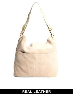 ASOS | ASOS Suede Slouch Shoulder Bag with Double Pocket at ASOS