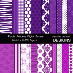 14 Purple Princess Digital Papers. These are beautiful!! Great for invitations, cards, and paper goods. Great scrapbooking papers!
