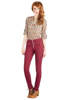 Karaoke Songstress Jeans in Crimson. When its your turn at the mic, you confidently rush to the front of the room, clad in these high-waisted skinnies - a ModCloth exclusive! #red #modcloth