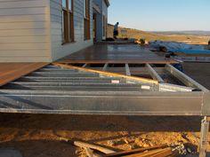Wrap around deck frame with mitred corner.