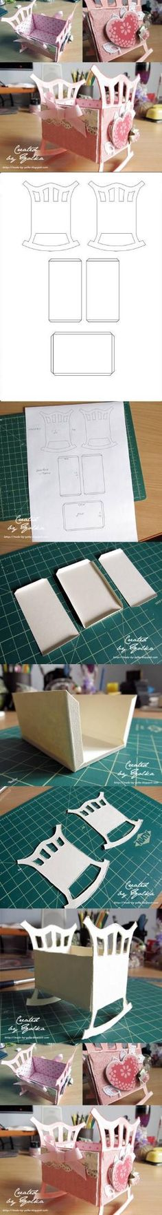 DIY Origami Crib diy craft crafts how to tutorial paper crafts origami baby crafts Paper Crafts Origami, Diy Origami, Diy Paper, Paper Art, Kirigami, Baby Crafts, Kids Crafts, Papier Diy, Diy Crib