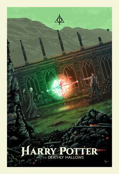 Harry Potter & the Deathly Hallows - Created by Derek Payne Harry Potter Book Covers, Harry Potter Poster, Harry Potter Film, Deathly Hallows Part 2, Harry Potter Deathly Hallows, Slytherin, Hogwarts, Room Posters, Poster Wall