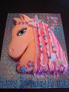 Girlie horse cake for kids