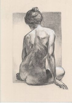ORIGINAL DRAWING. Woman nude drawing. Charcoal and white chalk drawing. Posing nude. Art of naked. Size: 27.5 x 20 inches. Signed by Artist.