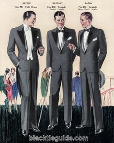 Evening fashions from a 1929 Chicago tailoring company catalog, including a relatively rare notch-lapel tuxedo. http://www.blacktieguide.com/History/07-Jazz_Age.htm