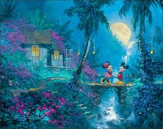 Mickey & Minnie painting - Thomas Kinkade. LOVE HIM.