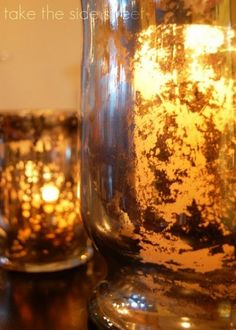 Turning glass into fake mercury glass tutorial. http://www.remodelaholic.com/2011/06/turning-glass-into-faux-mercury-glass-tutorial/