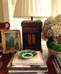 Karen E Keysar Interiors / Antique tea caddy lamp, vintage painting, majolica