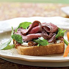 Open-Faced Beef Sandwiches with Greens and Horseradish Cream by Cooking Light Roast Beef Sandwiches, Sandwiches For Lunch, Wrap Sandwiches, Steak Recipes, Grilling Recipes, Cooking Recipes, Bacon And Egg Sandwich, French Bread French Toast, Beef Flank Steak