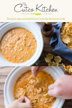 Chili Cheese Dip in a Slow Cooker   choose mild, medium or hot salsa for this recipe that is the perfect game day snack   Cutco Kitchen Chili Cheese Dips, Hot Salsa, Game Day Snacks, Slow Cooker Chili, Perfect Game, Kitchen Recipes, Food Preparation, Food Hacks, Finger Foods
