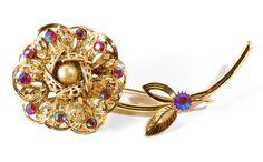 HUGE Vintage Goldtone Filigree Flower AB Red Rhinestone Brooch