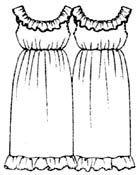 Выкройка платья с цельнокроеной оборкой, размеры 40, 42, 44, 46