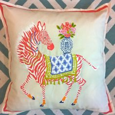 "Paige Gimmel's Hand painted zebra pillow available on Etsy today. Measures 20"" x20"""