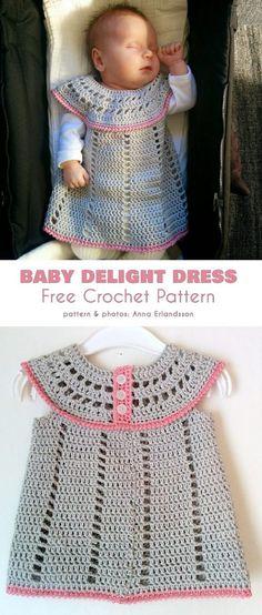 Baby Delight Dress Free Crochet Pattern Knitting with Chopsticks Beau Crochet, Crochet Baby Dress Pattern, Baby Dress Patterns, Baby Girl Crochet, Crochet Baby Clothes, Crochet For Kids, Knit Crochet, Crochet Patterns, Coat Patterns
