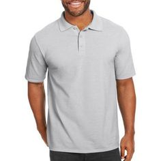 Hanes Big Men's X-Temp with Fresh IQ Short Sleeve Pique Polo Shirt, Size: 4XL, Silver