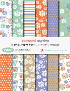 Digital Scrapbooking Paper Pack - Scented Garden by DreamingOnAStar with FREE Washi Tape, €3.00