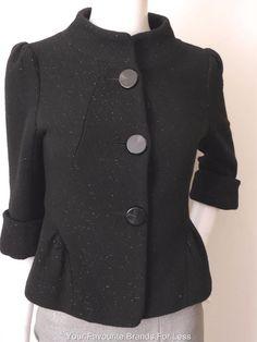 BABY FOX Black Wool Blend 3/4 Length Sleeve Jacket Size 36  AU 6 - 8 US 2 - 4    #BabyFOX #ShortJacket