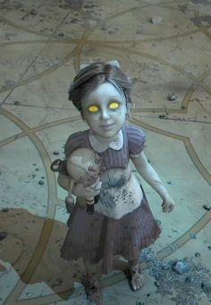 bioshock little sister Bioshock Tattoo, Bioshock Game, Bioshock Series, Bioshock Cosplay, Little Sister Cosplay, Sister Costumes, Horror, Bioshock Infinite, Video Game Art